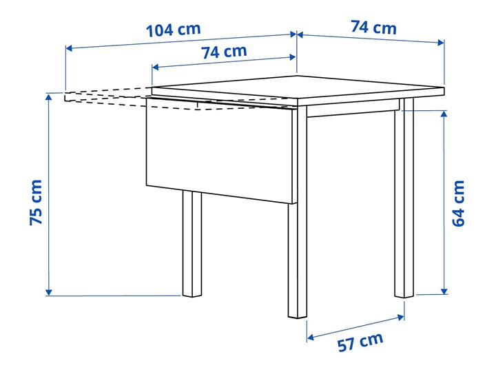 NORDVIKEN Stół z opuszcz blatem Drewno Długość 110 cm  Szerokość 74 cm Wysokość 75 cm Długość 74 cm Długość 104 cm Rozkładanie