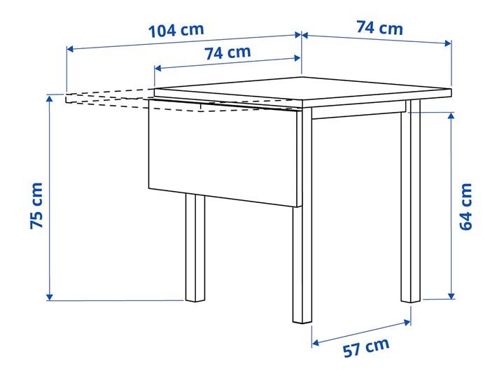 IKEA NORDVIKEN Stół z opuszcz blatem, Czarny, 74/104x74 cm Drewno Długość 104 cm Pomieszczenie Stoły do kuchni