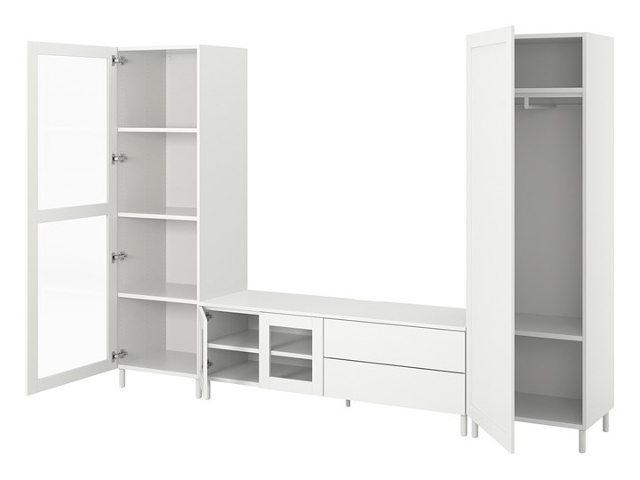 PLATSA Kombinacja TV/szafki 4 drzwi+2 szu Kolor Biały