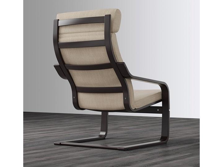 IKEA POÄNG Fotel, czarnybrąz/Hillared beżowy, Szerokość: 68 cm Tworzywo sztuczne Kategoria Fotele do salonu Drewno Fotel z podnóżkiem Pomieszczenie Salon