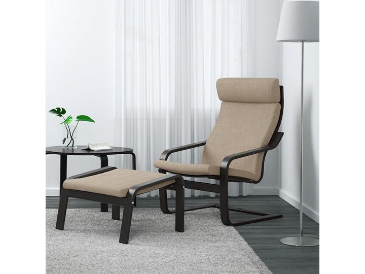 IKEA POÄNG Fotel, czarnybrąz/Hillared beżowy, Szerokość: 68 cm Tworzywo sztuczne Fotel z podnóżkiem Drewno Pomieszczenie Salon Kategoria Fotele do salonu