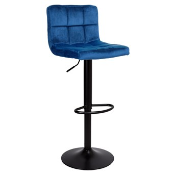 Krzesło barowe ARAKO BLACK aksamitne granatowe VELVET
