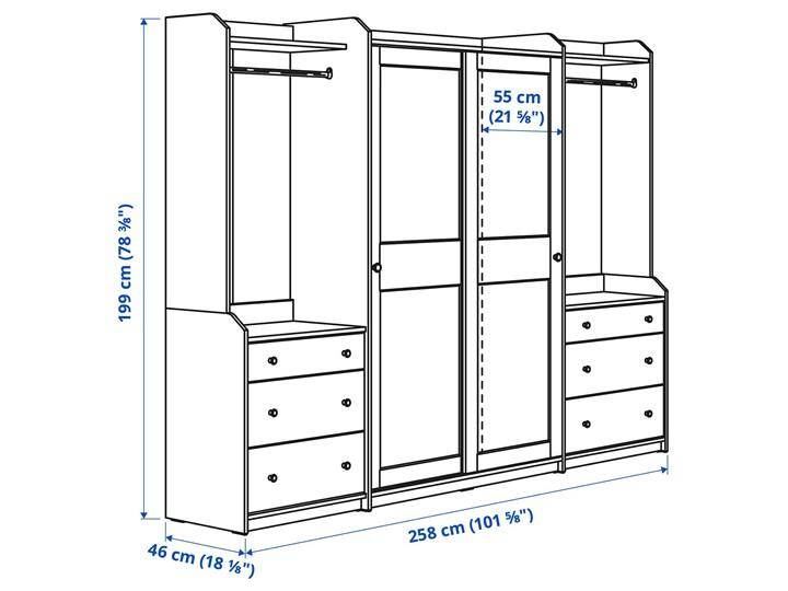 HAUGA Kombinacja szafy Szerokość 258 cm Kategoria Szafy do garderoby Głębokość 55 cm Wysokość 199 cm Lustro