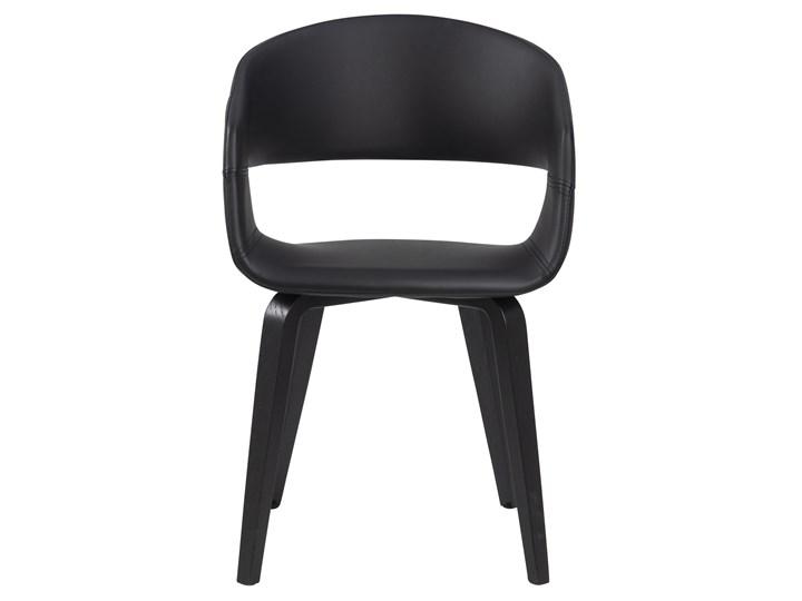 Krzesło Nova 51x78 cm czarne ekoskóra nogi fornir topola/brzoza Kolor Czarny Skóra ekologiczna Drewno Kategoria Krzesła kuchenne