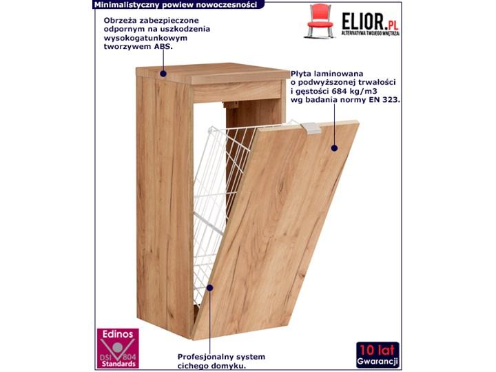 Półsłupek łazienkowy z koszem na pranie - Malta 4X Dąb Wysokość 80 cm Drewno Szerokość 35 cm Wiszące Kolor Beżowy