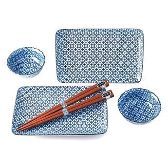 Niebiesko-biały zestaw do serwowania sushi dla 2 osób MIJ Flower