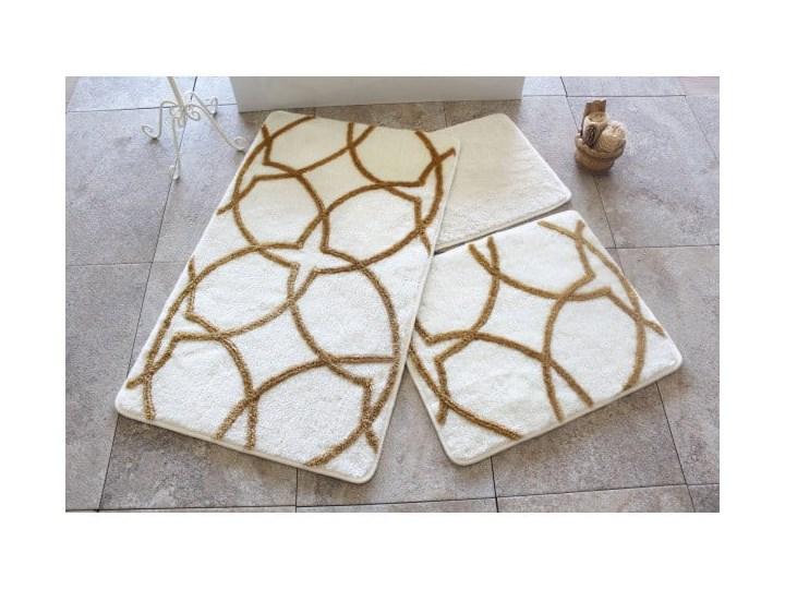 Zestaw 3 biało-złotych dywaników łazienkowych Bonita 60x100 cm Kolor Beżowy Prostokątny Kolor Biały