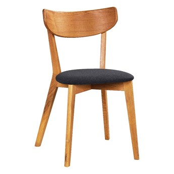 Brązowe dębowe krzesło do jadalni z grafitowym siedziskiem Rowico Ami