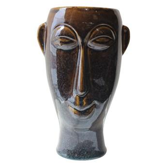 Ciemnobrązowy porcelanowy wazon PT LIVING Mask, wys. 27,2 cm