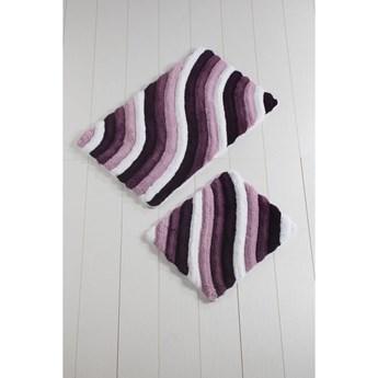 Komplet 2 fioletowych dywaników łazienkowych Colorful