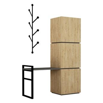 Zestaw szafki na buty w dekorze dębowego drewna i wieszaka ściennego Mello Oak
