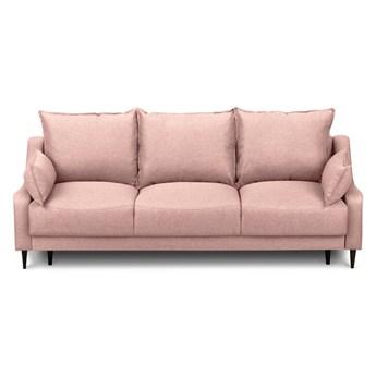 Różowa rozkładana sofa ze schowkiem Mazzini Sofas Ancolie, 215 cm