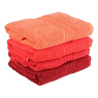 Zestaw 4 czerwonych ręczników Rainbow Tulip, 70x140 cm