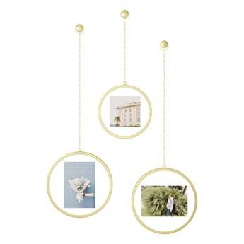 Zestaw 3 wiszących ramek na zdjęcia w kolorze złota Umbra Luna