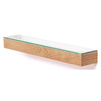Półka z drewna dębowego ze szklanym blatem Wireworks Mezza, 55 cm