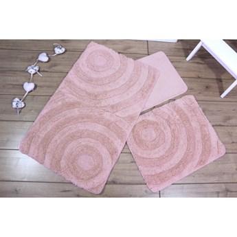 Komplet 3 różowych dywaników łazienkowych Adriana
