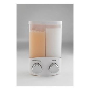 Biały podwóny dozownik mydła Compactor Uno, objętość 2x310 ml