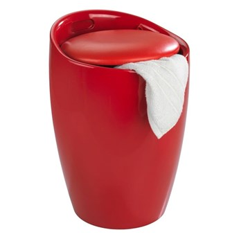 Czerwony kosz na pranie i taboret w jednym Wenko Candy, 20 l