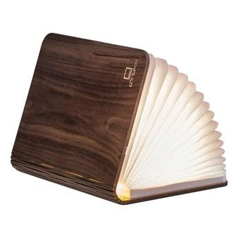 Ciemnobrązowa lampa stołowa LED z drewna orzechowego w kształcie książki Gingko Standard