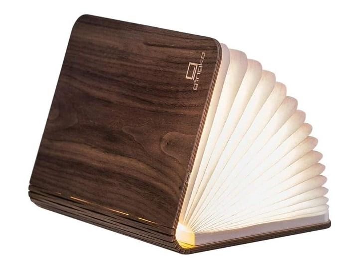 Ciemnobrązowa lampka stołowa LED z drewna orzechowego w kształcie książki Gingko Booklight
