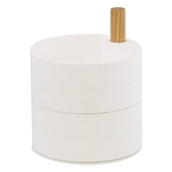 Biała szkatułka z detalem z bukowego drewna YAMAZAKI Tosca