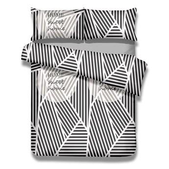 Zestaw bawełnianej poszwy na kołdrę i 2 poszewek na poduszki AmeliaHome Averi Sweet Home Light, 200x200 cm + 80x80 cm
