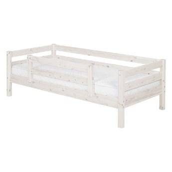 Białe łóżko dziecięce z drewna sosnowego z barierką bezpieczeństwa Flexa Classic, 90x200 cm
