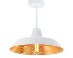 Biała lampa wisząca z wnętrzem w kolorze złota Bulb Attack Cinco Basic