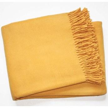 Żółty pled z domieszką bawełny Euromant Basics, 140x180 cm