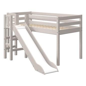 Szare dziecięce łóżko z drewna sosnowegoze zjeżdżalnią Flexa Classic Slide, wys. 120 cm