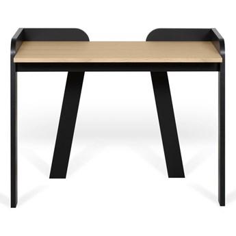 Czarne biurko z blatem w dekorze dębowym TemaHome