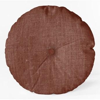 Bordowa poduszka Linen Couture Cojin Redondo Burgundy, ⌀ 45 cm
