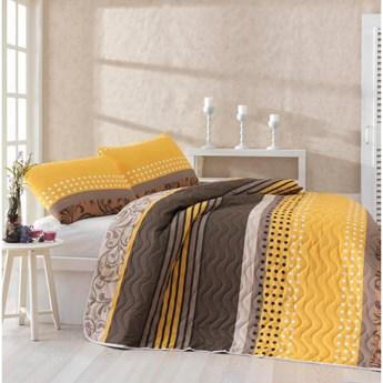 Zestaw narzuty na łóżko i poszewki na poduszkę z domieszką bawełny Miranda Yellow, 160x220 cm