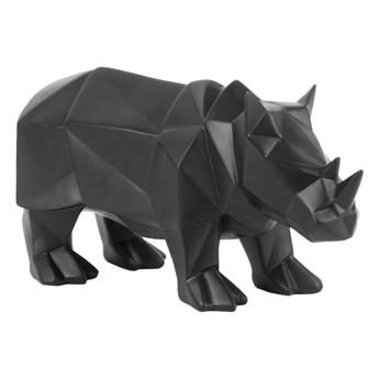 Matowa czarna figurka PT w kształcie nosorożca LIVING Origami Rhino
