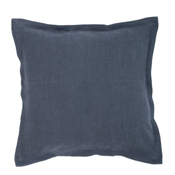 Ciemnoniebieska poduszka z domieszką lnu Tiseco Home Studio, 45x45 cm