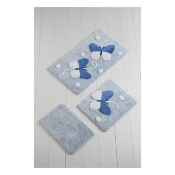 Komplet 3 biało-niebieskich dywaników łazienkowych Mari Blue