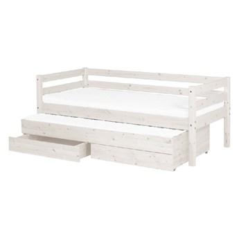 Białe łóżko dziecięce z drewna sosnowego z wysuwanym łóżkiem i 2 szufladami Flexa Classic, 90x200 cm