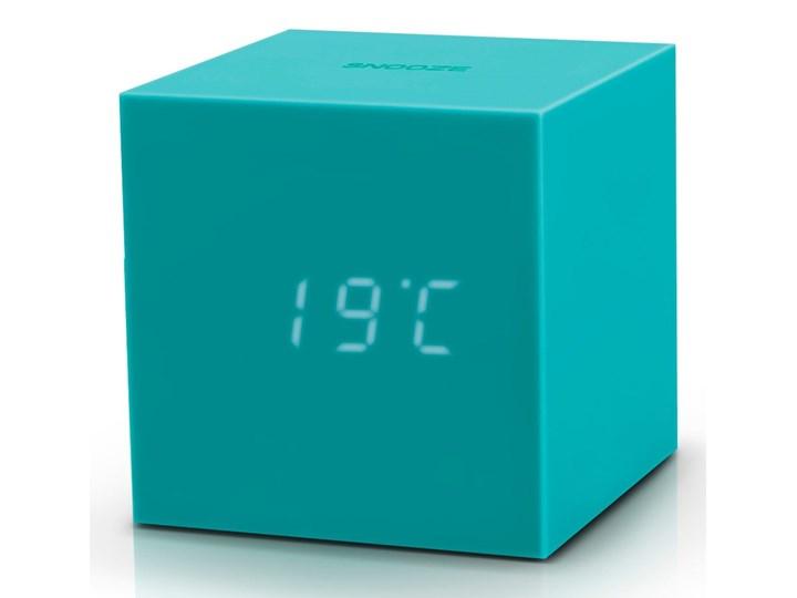 Turkusowy budzik LED Gingko Gravitry Cube Tworzywo sztuczne Zegar stołowy Plastik Kwadratowy Kategoria Zegary