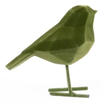 Ciemnozielona figurka dekoracyjna w kształcie ptaszka PT LIVING Bird, wys. 17 cm