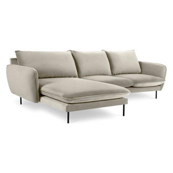 Beżowa narożna aksamitna sofa lewostronna Cosmopolitan Design Vienna
