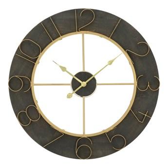 Czarny zegar ścienny z detalami w złotej barwie Mauro Ferretti Norah, ⌀ 70 cm