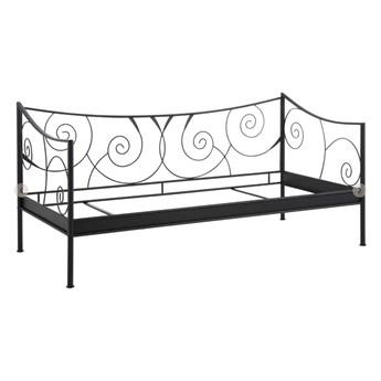 Czarne łóżko metalowe Støraa Isabelle, 90x200cm