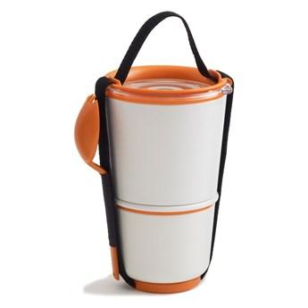 Biało-pomarańczowy pojemnik obiadowy Black + Blum Lunch Pot
