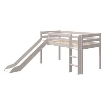 Szare dziecięce łóżko z drewna sosnowego ze zjeżdżalnią Flexa Classic, wys. 120 cm
