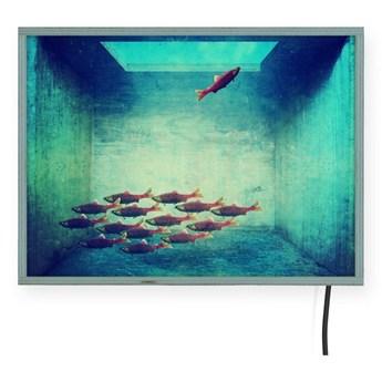 Świecąca dekoracja ścienna Surdic Free Fish, 40x30 cm