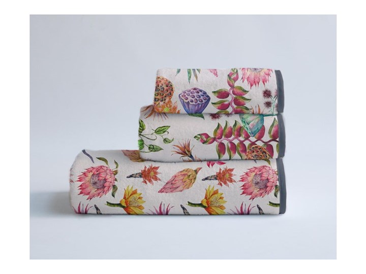 Zestaw 3 ręczników Madre Selva Flores Salvajes Ręcznik kąpielowy 30x40 cm Komplet ręczników Młodzieżowe 60x140 cm Łazienkowe Bawełna 40x90 cm Kategoria Ręczniki