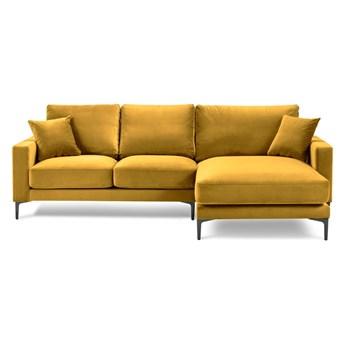 Żółty aksamitny narożnik Kooko Home Harmony, prawostronny