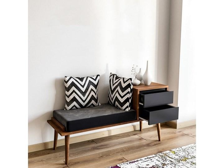Ławka ze schowkiem w dekorze drewna orzechowego Fiume Tradycyjna Kolor Czarny Kolor Beżowy