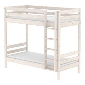 Białe wysokie dziecięce łózko piętrowe z drewna sosnowego Flexa Classic, 90x200 cm