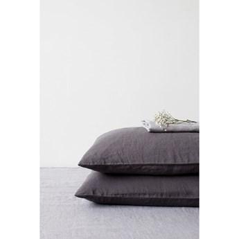 Ciemnoszara lniana poszewka na poduszkę Linen Tales, 70x90 cm